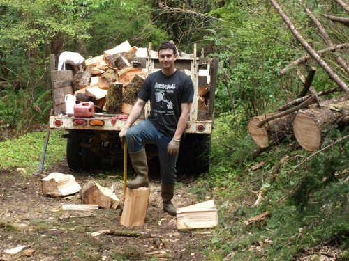 Bringing in the cook-stove wood